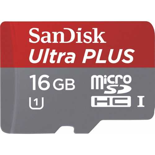 SanDisk - Ultra Plus 16GB Microsdhc Class 10 UHS-1 Memory Card - Red/Gray