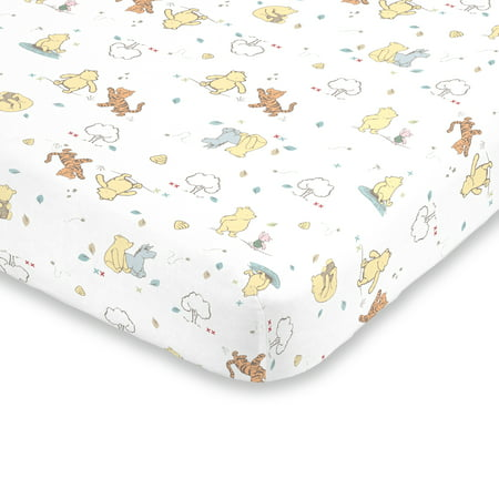 Winnie The Pooh Baby (Disney Winnie the Pooh Classic Pooh 100% Cotton Fitted Crib Sheet in Ivory, Butter, Aqua and)