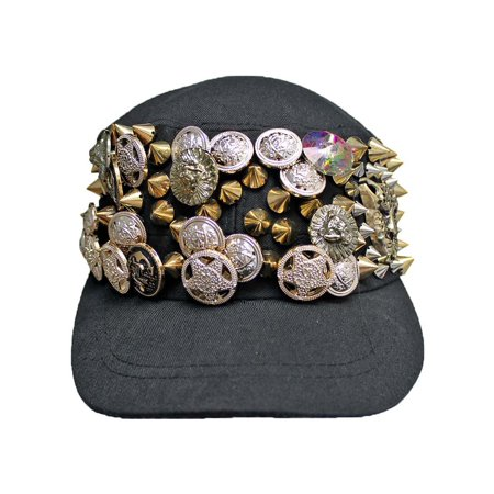 Black Cadet Cap Hat With Gold Spikes & Buttons Spike 24 Caps