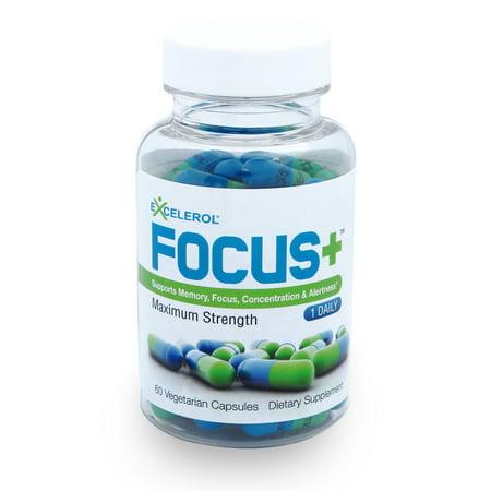 60 Caps Supplement Pills - FOCUS+ Brain Supplement - 60 Caps - Powerful Mental Clarity Booster - Supports Focus, Concentration & Alertness - Maximum Strength Brain Vitamin - 60 Vegetarian Capsules