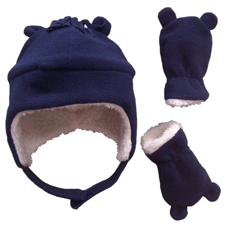 Nice Caps Toddler Boys And Baby Warm Sherpa Lined Micro Fleece Hat And Mitten Cold Weather Winter Snow Headwear Accessory Set With Ears   Fits Little Kids And Infant Sizes