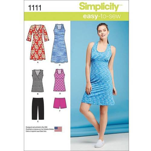 Simplicity Misses' Easy Knit Sport Dresses, Tunics and Short, 16-18-20-22-24