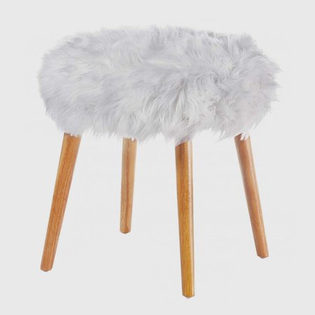 Bsd National Supplies Waverly White Fur Topped Foot Stool