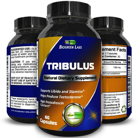 Biogreen Labs Tribulus Terrestris Supplement for Athletic Performance Natural Tribulus Extract with 45% Saponins Build Muscle Burn Belly Fat Enhance Weight Training Boost Libido 60 Capsules