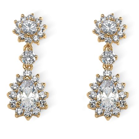 ba443e645 5.66 TCW Pear-Cut and Round Cubic Zirconia Halo Drop Earrings 14k Yellow  Gold-Plated
