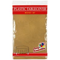 """Gold  84"""" Round Plastic Disposable Party  Tablelcoth"""
