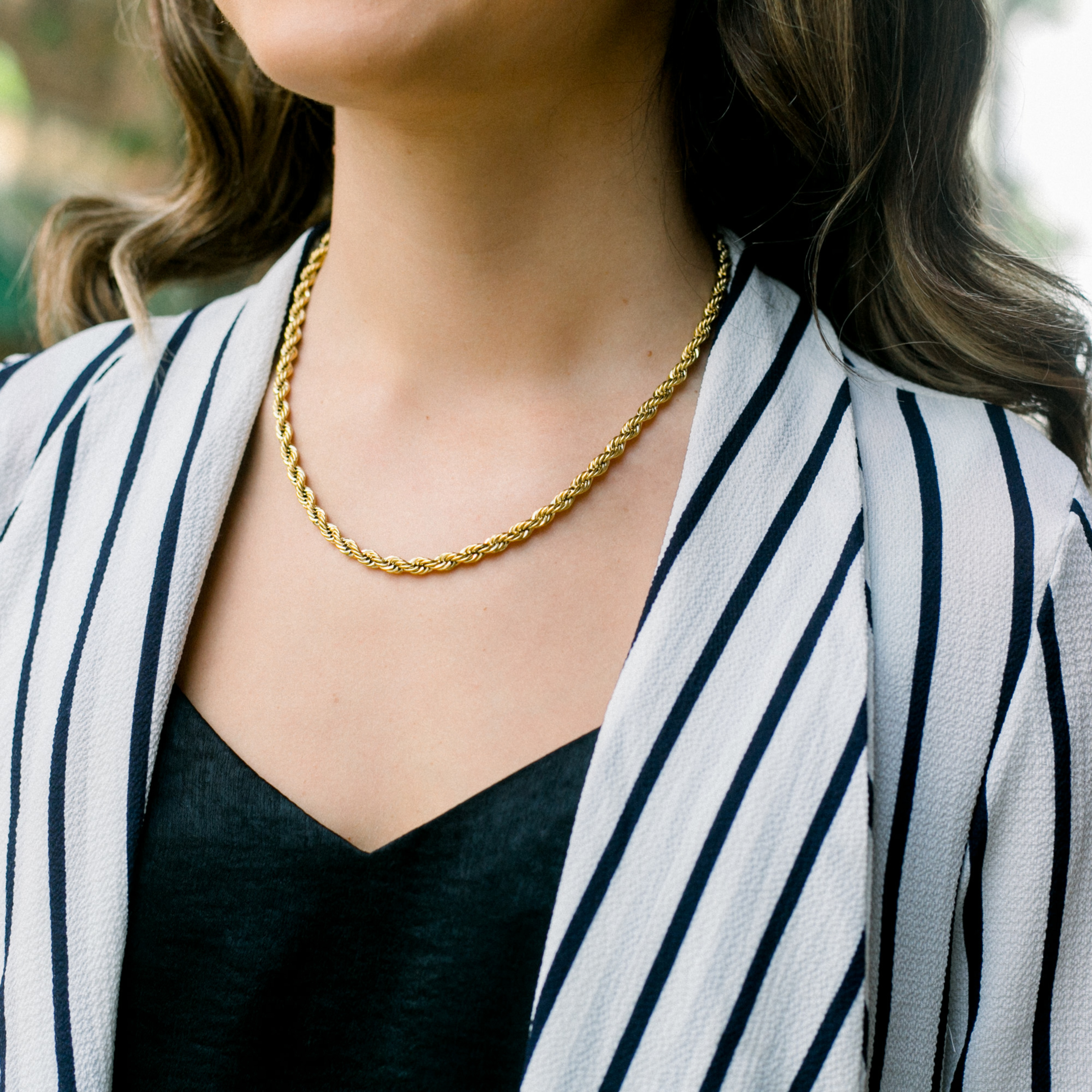 16 \u2013 36 inches KISPER 18k Gold Over Stainless Steel Hip Hop Rope Chain Necklace 5mm
