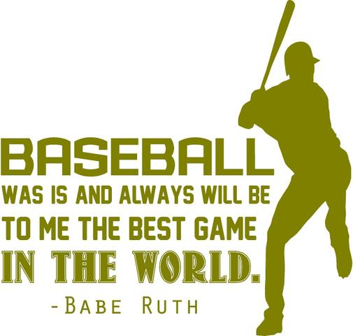 "BASEBALL VINYL WALL DECAL - Babe Ruth Quote - Bedroom Sports Decor - 20""x20"""
