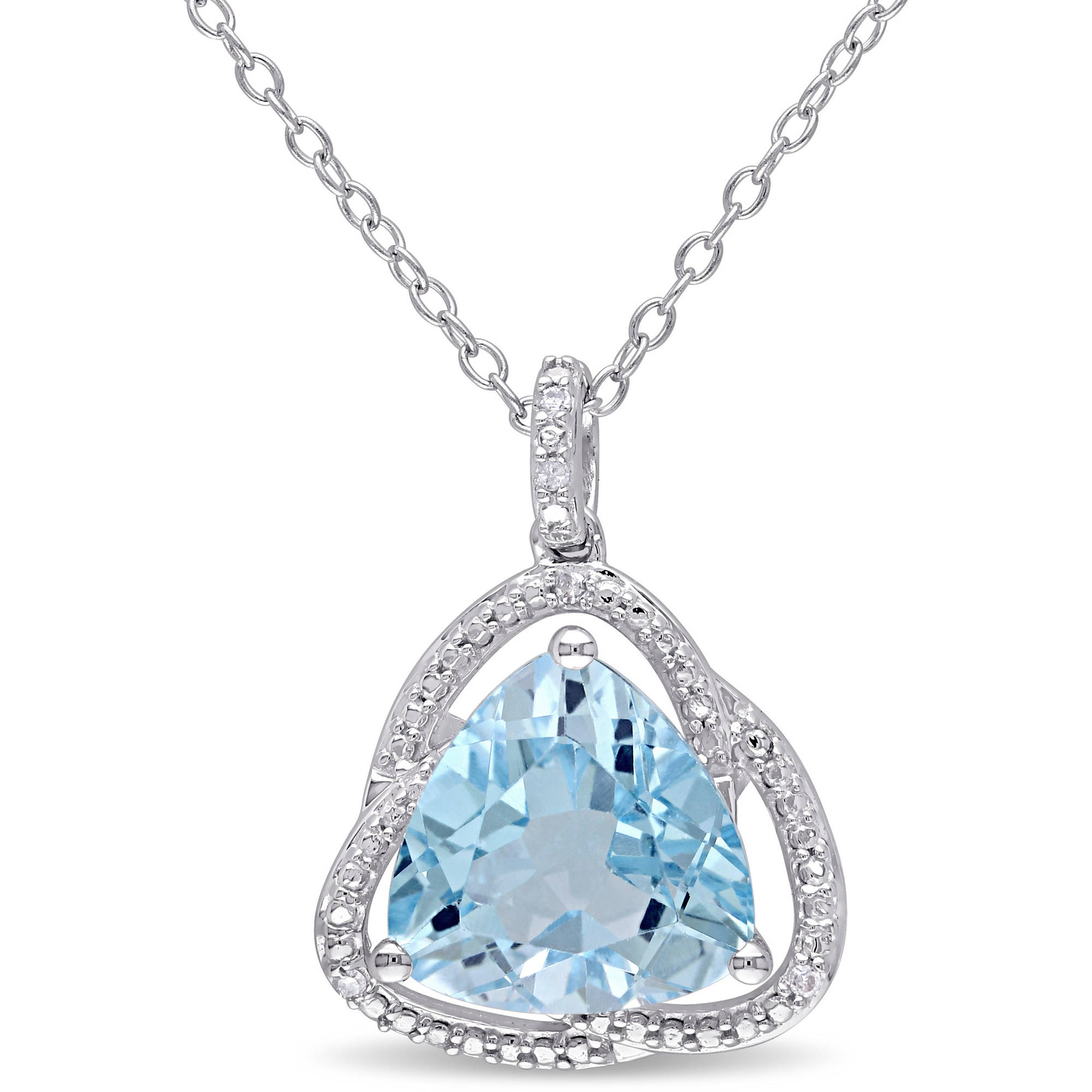 Tangelo 4-1/5 Carat T.G.W. Sky Blue Topaz and Diamond-Accent Sterling Silver Halo Pendant, 18""