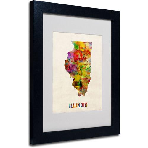 """Trademark Fine Art """"Illinois Map"""" Matted Framed Art by Michael Tompsett, Black Frame"""