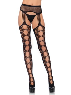 93b276fac7e Product Image Leg Avenue Womens Hex Fishnet Stockings with Attached Garter  Belt