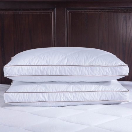 - Puredown Goose Feather and Down Pillow, 100% Cotton Fabric, Gusset Siding, Standard/Queen Size, Set of 2