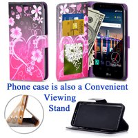 "for 5.7"" LG Stylo 3 K10 PRO Stylus 3 + PLUS Case Phone Case Designed Wallet Grip Textured Kick stand Hybrid Pouch Pocket Purse Screen Flip Cover Big Heart Pink"