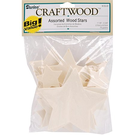 Darice Wood Turning Shapes  Assorted Stars  32 Pack