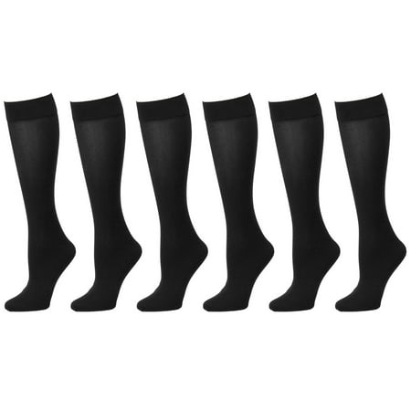 6-Pack Black Women Trouser Socks with Comfort Band Stretchy Spandex Opaque Knee - Black Trouser Socks