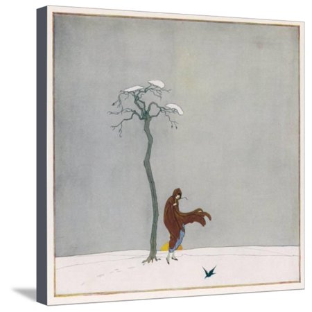 The Wind Blows up the Skirts of Her Coat as She Walks Alone at Sunset Past a Leafless Tree Stretched Canvas Print Wall Art By Dorothy Wheeler