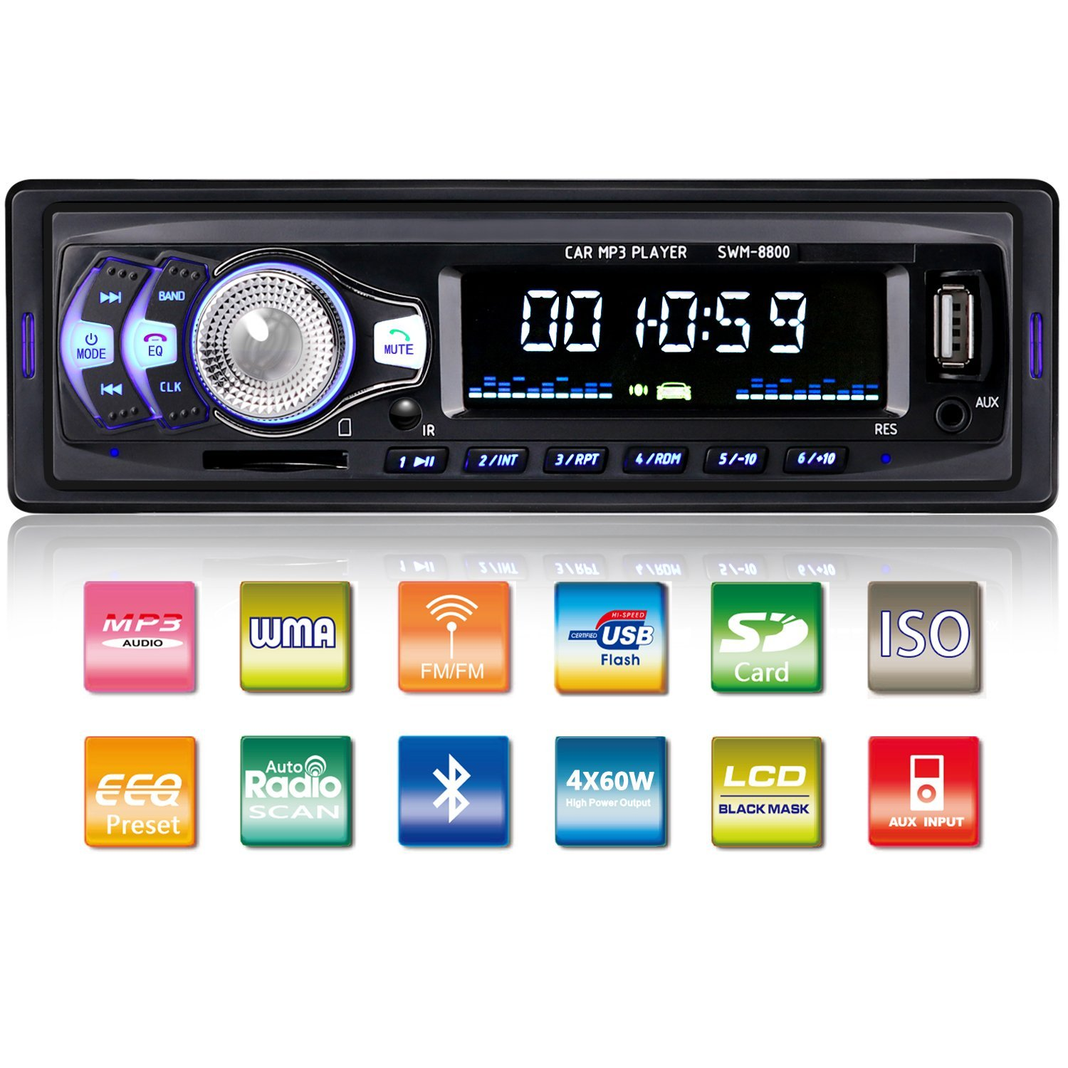 Tagital Car Stereo with Bluetooth In-Dash Single Din Car Radio, Car MP3 Player USB/SD/AUX/Wireless Remote Control