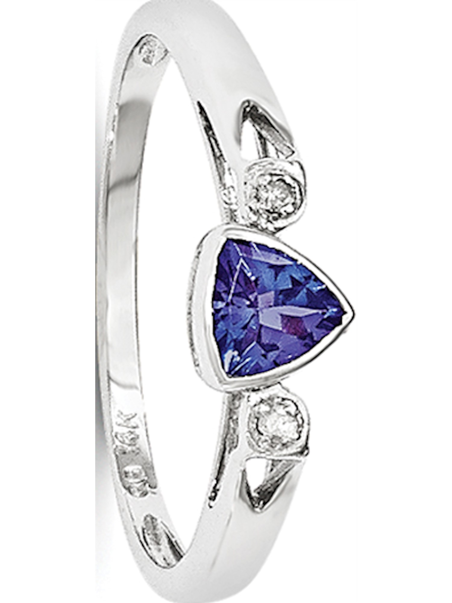 14k White Gold White Tanzanite and Diamond Ring by