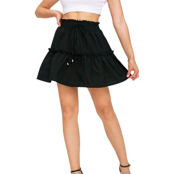 Mini skirts loose Ukap Ukap S Xl Pleated Layer Short Skirts For Women Casual Loose Summer Boho Skater Mini Skirt Ladies Elastic Waist Drawstring Flare Skirts Black M Us 8 10 Walmart Com Walmart Com
