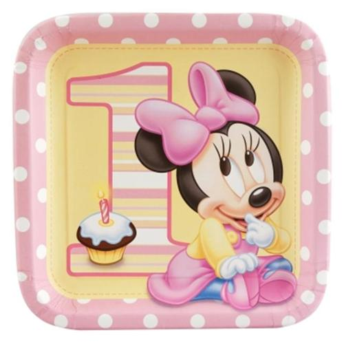 Hallmark 234429 Minnies 1st Birthday Square Dinner Plates- 8 count