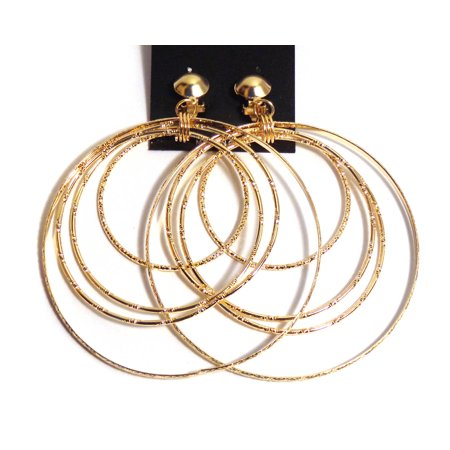 Clip On Earrings Multi Hoop Layered Gold