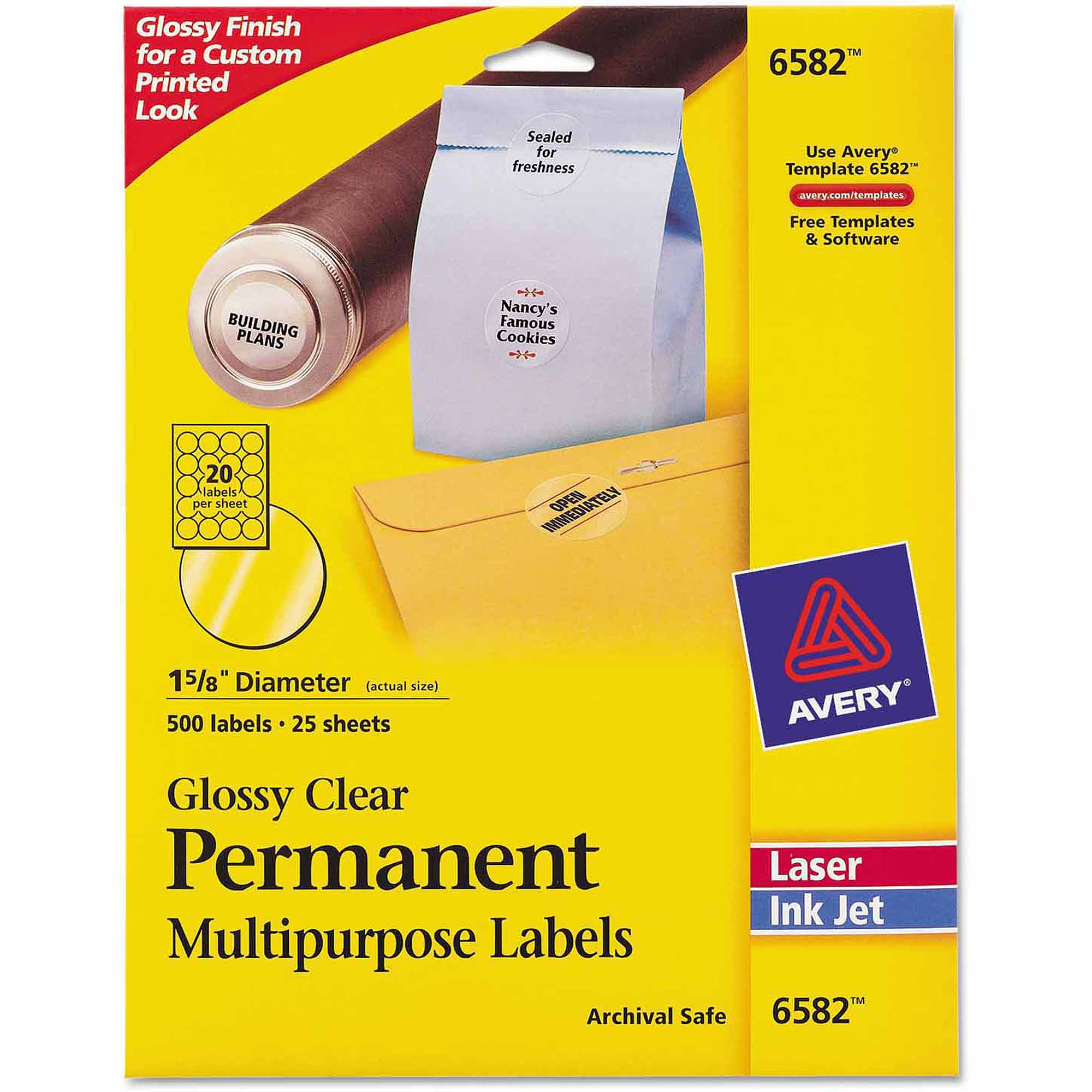 "Avery Permanent Clear Round ID Labels for Laser/Inkjet Printers, 1-2/3"" Diameter, 500-Pack"