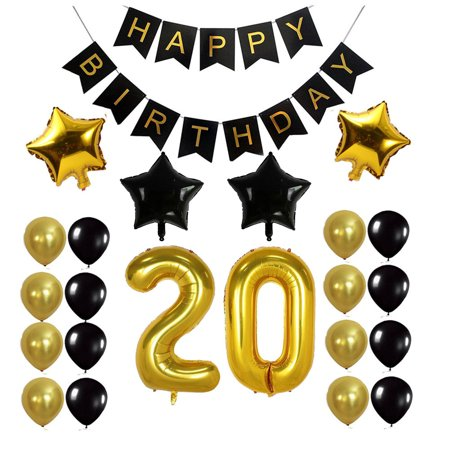 Outgeek 20th Birthday Decorations Party Balloons Glossy Foil Latex Star Happy Banner Favors Ornaments