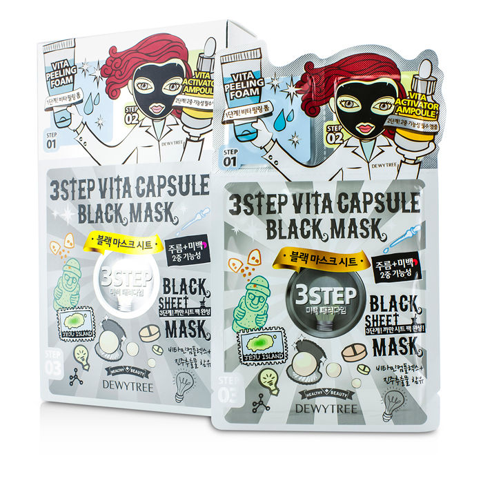 Dewytree - 3 Step Black Sheet Mask - Vita Capsule - 10x28g/0.93oz