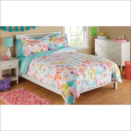 Mainstays Kids Microfiber Full Butterfly Bed in a Bag, 1 Each