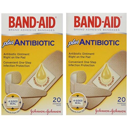 Band-Aid Brand Adhesive Bandages  Plus Antibiotic  Assorted  20 Count (Pack of 2)