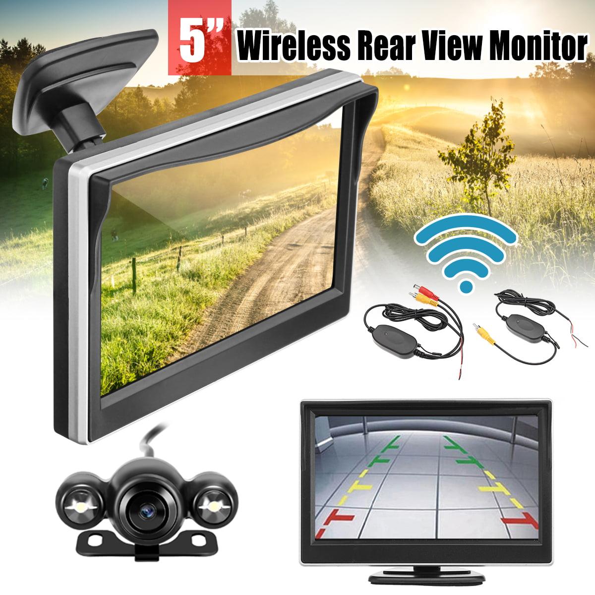 5inch LCD Wireless Car Rear View Backup Monitor with Sensor Parking LED Night Vision Camera Kit