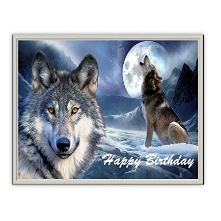 Grey Wolf Howling at Moon Edible Icing Image for 1/4 sheet cake - Halloween Cake Icing Ideas