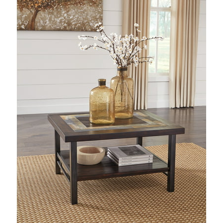 Ashley Furniture Gallivan Two Tone Brown Coffee Table With Slate - Coffee table with tile inlay