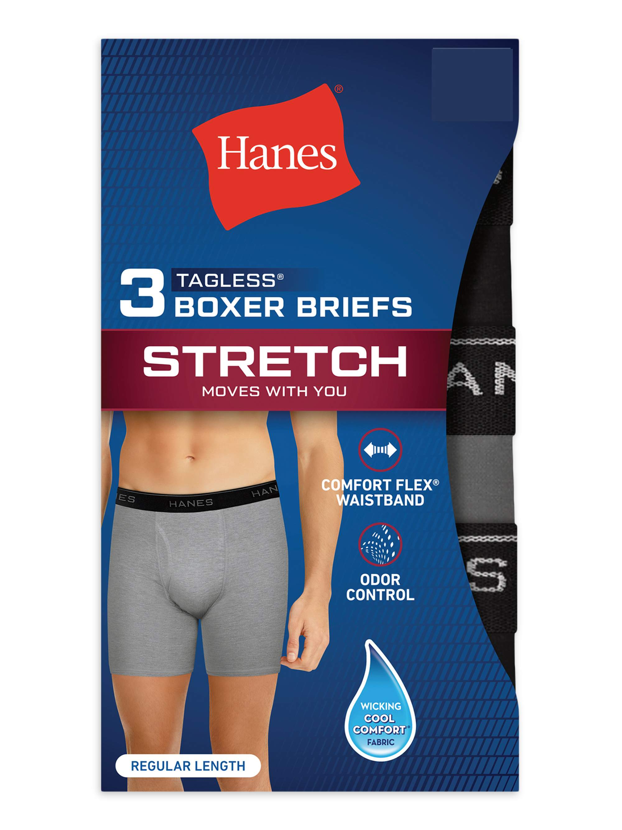 NEW MENS HANES STRETCH WICKING 3 PACK ODOR CONTROL BOXER BRIEFS BLACK GRAY BLUE