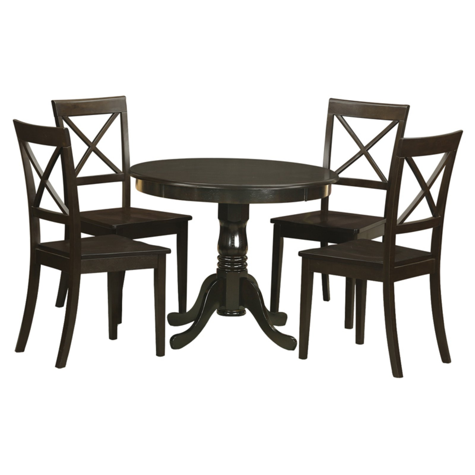 East West Furniture Antique 5 Piece Pedestal Round Dining Table Set with Boston Wooden Seat Chairs