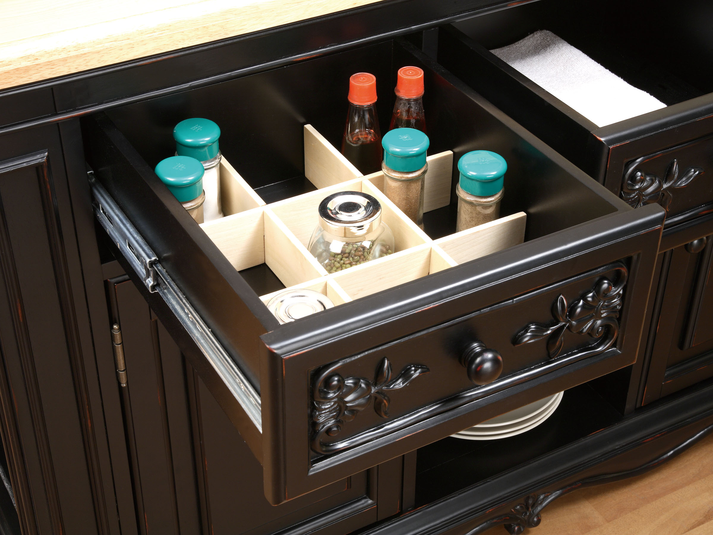 Powell Pennfield Kitchen Island, Black and Natural - Walmart.com
