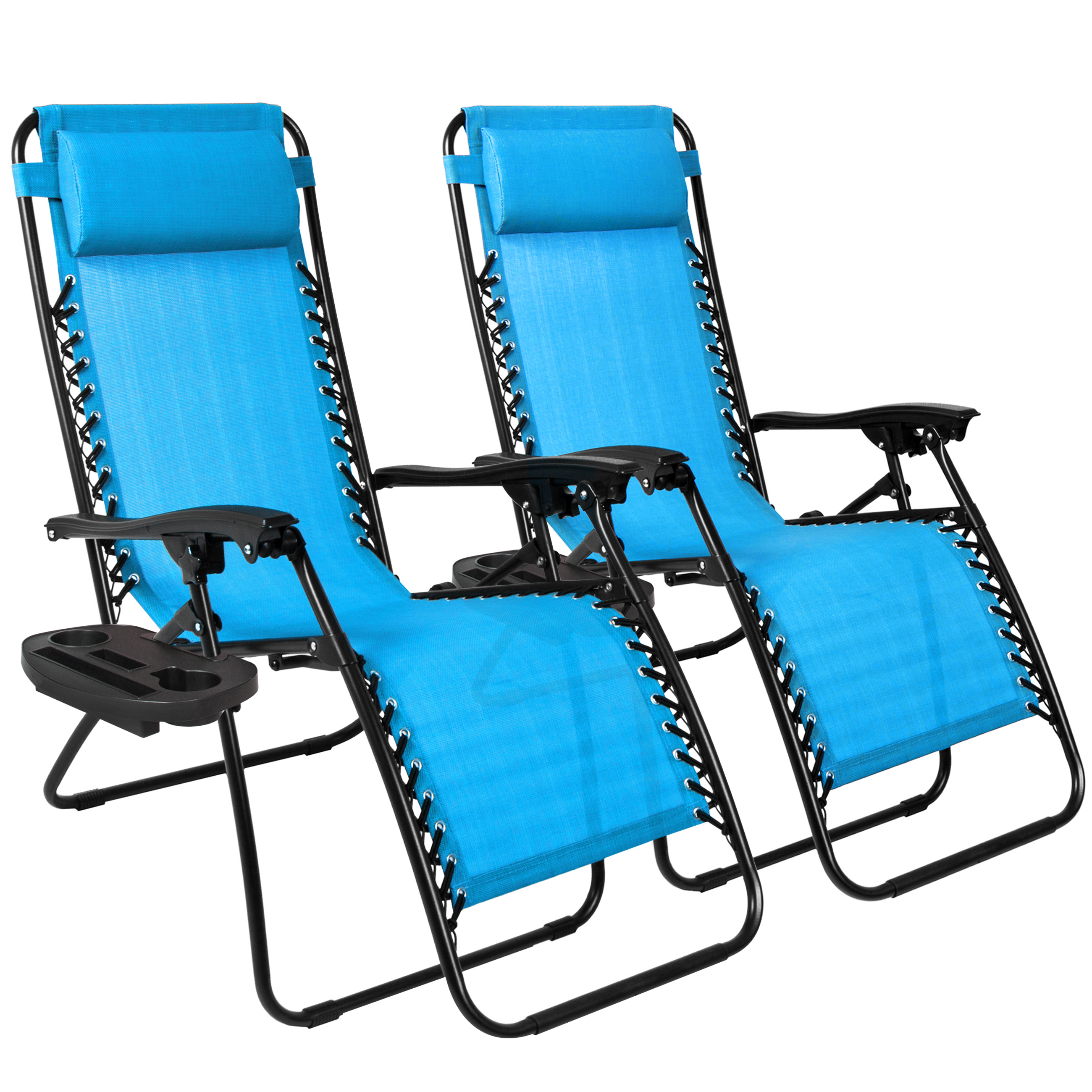 Best Choice Products Zero Gravity Chairs Case Of (2) Lounge Patio Chairs  Outdoor Yard Beach  Light Blue