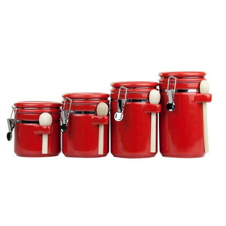 Ceramic Tea Canister (Home Basics Ceramic Canister with Spoon Set (4 Pieces), Red )