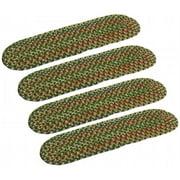 Rhody Rug KA63A008X028-4 Katie Multi Braided Stair Tread, Sage - Set Of 4