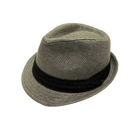 Large Fedora (Men / Women's Summer Vintage Straw Fedora Hat 756_Grey Large/X-Large )