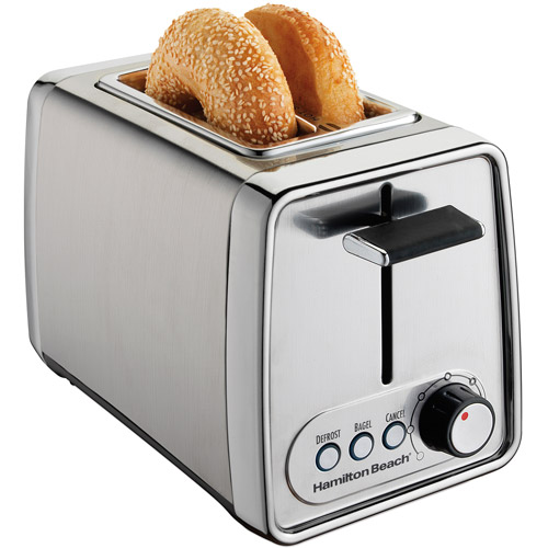 Hamilton Beach Modern Chrome Extra-Wide Slot 2 Slice Bagel Toaster | Model# 22791