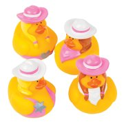 Pink Cowgirl Rubber Duckies - Party Favors - 12 Pieces