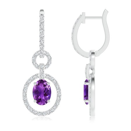 Angara Holiday Floating Oval Amethyst Dangle Hoop Earrings With Diamonds In Platinum 7x5mm Se0129amd Pt Aaaa 7x5