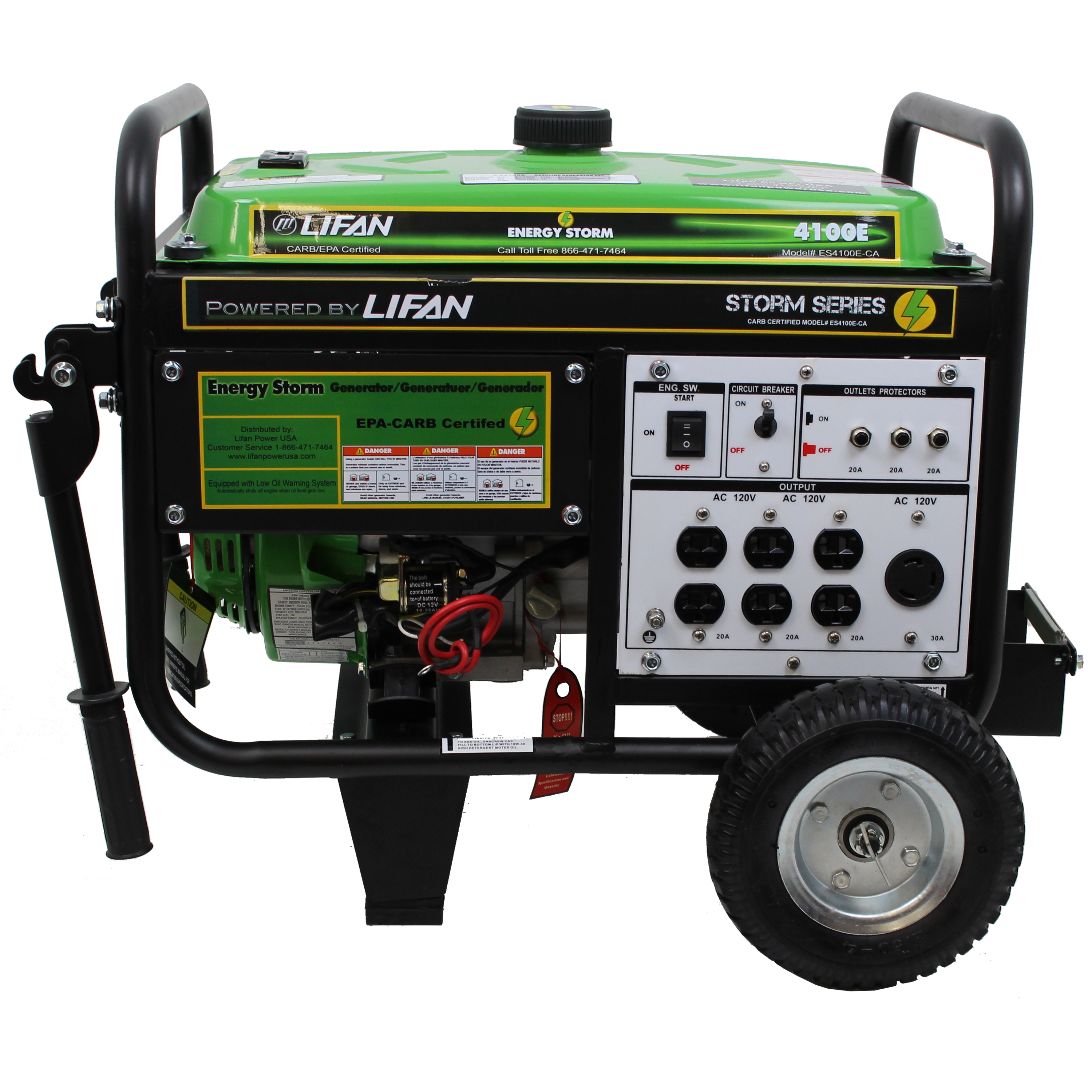 Lifan Energy Storm 4100E, 211cc 7hp, 4-Stroke Industrial Grade, Keyless Push Button Electric/Recoil Start, Gasoline Powered Portable Generator
