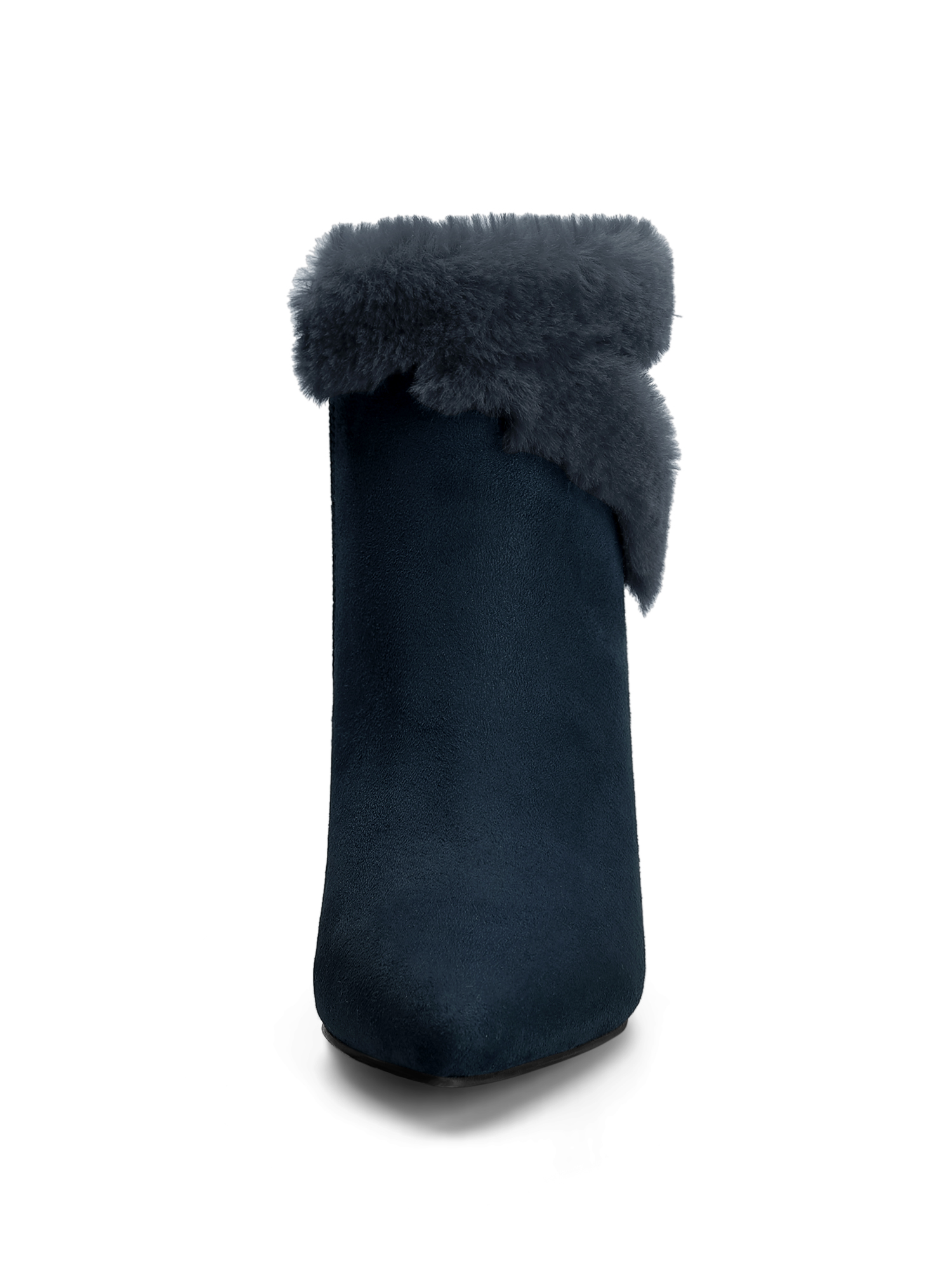 Women's Faux Fur Pointy Toe Chunky Heel Ankle Boots Navy Blue (Size 5.5)