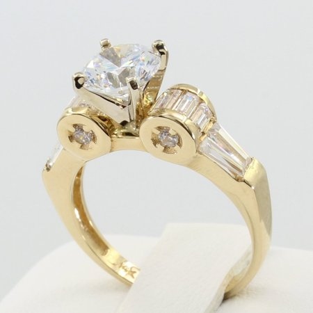 2.50 Ct 14K Real Yellow Gold Fancy Round Cut with Baguette Channel Bar Set Side Stones 4 Prong Cathedral Setting Engagement Wedding Propose Promise Ring