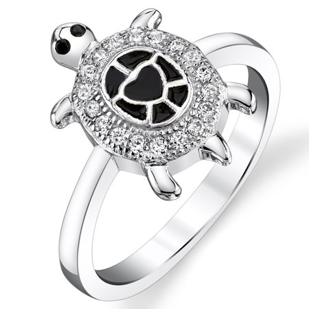 Sterling Silver Sea Turtle Ring with Enamel and Black and White Cubic Zirconia