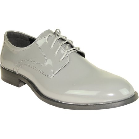 Tab Men Formal Dress Shoes Tuxedo Gray Patent Lace Up Oxford Wrinkle Free 9.5M (Lace Up Tuxedo)