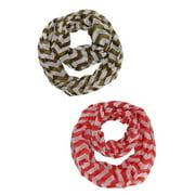 Chevron Striped Infinity Fashion Scarf 2-Pack Set