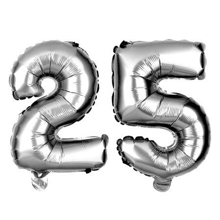Non-Floating 25 Number Balloons 25th Birthday Party Supplies Silver Decorations Small 13 Inch (Silver) - Birthday Numbers